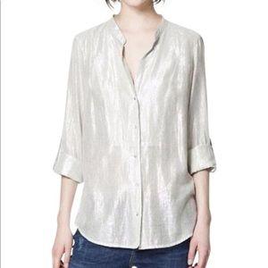 Zara Metallic Button-down